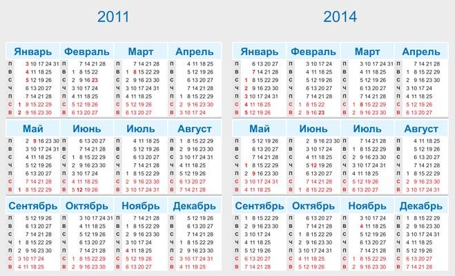 Календари в векторе и растровых файлах png на 2010-2014 годы.