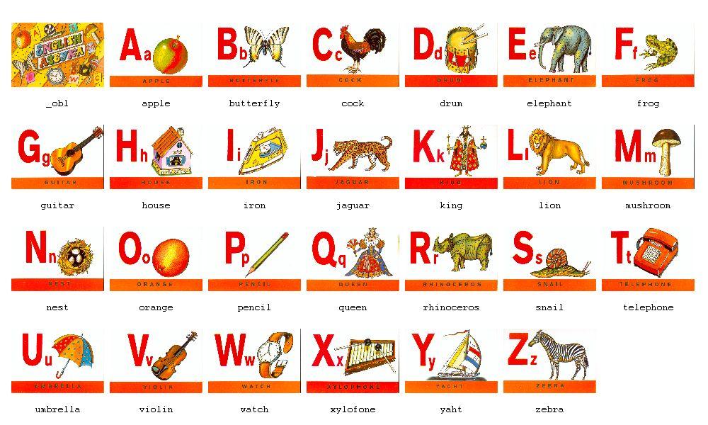 Алфавит английский карточки